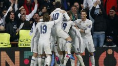 Real Madrid's Casemiro celebrates scoring their third goal with team mates